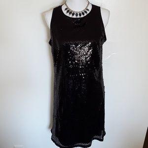 Tiana B. black sequence dress w/ keyhole back EUC